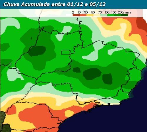 Chuva estimada para o Sudeste do Brasil de 1 a 5 de dezembro de 2017. Foto: Reprodução / Climatempo